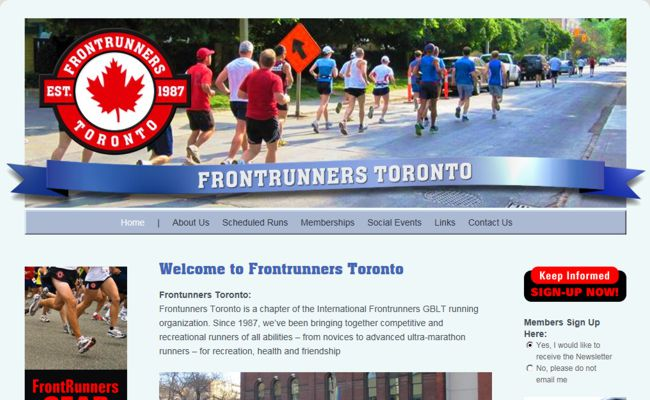 Web Development and Design for FrontRunnersToronto.ca